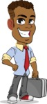 Simple Style Cartoon of an African-American Guy - with Briefcase