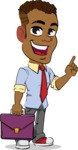 Simple Style Cartoon of an African-American Guy - Holding a briefcase