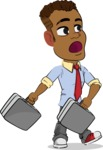 Simple Style Cartoon of an African-American Guy - with Two briefcases