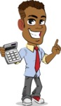 Simple Style Cartoon of an African-American Guy - with Calculator