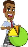 Simple Style Cartoon of an African-American Guy - with Business graph