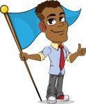Simple Style Cartoon of an African-American Guy - with Flag