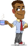 Simple Style Cartoon of an African-American Guy - Drinking Coffee
