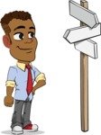 Simple Style Cartoon of an African-American Guy - on a Crossroad with sign pointing in all directions