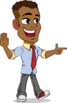 Simple Style Cartoon of an African-American Guy - Pointing with a fnger