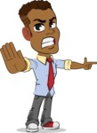 Simple Style Cartoon of an African-American Guy - Finger pointing with angry face