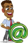 Simple Style Cartoon of an African-American Guy - with Email sign