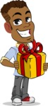 Simple Style Cartoon of an African-American Guy - with Gift box