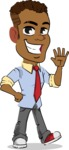 Simple Style Cartoon of an African-American Guy - Waving for Hello with a hand