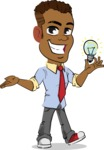 Simple Style Cartoon of an African-American Guy - with an Idea