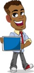 Simple Style Cartoon of an African-American Guy - Showing tablet