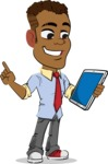 Simple Style Cartoon of an African-American Guy - Holding an iPad