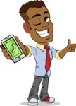 Simple Style Cartoon of an African-American Guy - Holding a smartphone