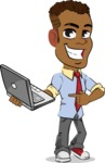 Simple Style Cartoon of an African-American Guy - Holding a laptop