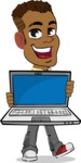 Simple Style Cartoon of an African-American Guy - Showing a laptop