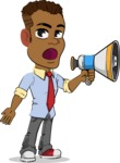 Simple Style Cartoon of an African-American Guy - Holding a Loudspeaker