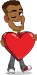 Simple Style Cartoon of an African-American Guy - Holding heart