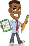 Simple Style Cartoon of an African-American Guy - Holding a notepad with pencil