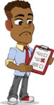Simple Style Cartoon of an African-American Guy - Holding a notepad