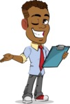 Simple Style Cartoon of an African-American Guy - Making thumbs up with notepad