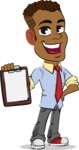 Simple Style Cartoon of an African-American Guy - Smiling and holding notepad