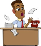 Simple Style Cartoon of an African-American Guy - Stressed out