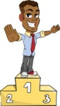 Simple Style Cartoon of an African-American Guy - with Success on Top