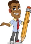 Simple Style Cartoon of an African-American Guy - Holding Pencil