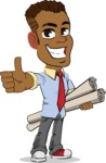Simple Style Cartoon of an African-American Guy - Holding Plans