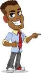 Simple Style Cartoon of an African-American Guy - Pointing with both hands