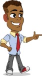 Simple Style Cartoon of an African-American Guy - Pointing with left hand