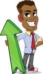 Simple Style Cartoon of an African-American Guy - with Up arrow