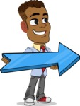 Simple Style Cartoon of an African-American Guy - with Positive arrow