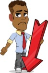 Simple Style Cartoon of an African-American Guy - with Arrow going Down