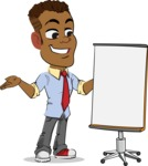 Simple Style Cartoon of an African-American Guy - with a Blank Presentation board