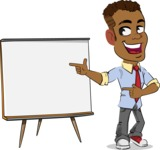 Simple Style Cartoon of an African-American Guy - Pointing on a Blank whiteboard