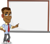 Simple Style Cartoon of an African-American Guy - Making a Presentation on a Blank white board