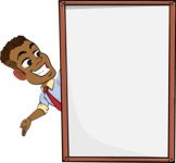 Simple Style Cartoon of an African-American Guy - Making peace sign with Big Presentation board