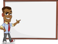 Simple Style Cartoon of an African-American Guy - Showing on Big whiteboard