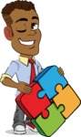 Simple Style Cartoon of an African-American Guy - with Puzzle