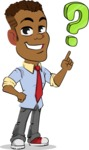 Simple Style Cartoon of an African-American Guy - with Question mark