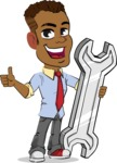 Simple Style Cartoon of an African-American Guy - with Repairing tool wrench