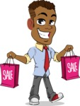 Simple Style Cartoon of an African-American Guy - Holding shopping bags