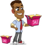 Simple Style Cartoon of an African-American Guy - with Sale boxes