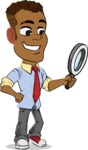 Simple Style Cartoon of an African-American Guy - Searching with magnifying glass