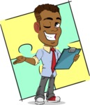 Simple Style Cartoon of an African-American Guy - Shape 12