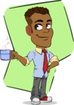 Simple Style Cartoon of an African-American Guy - Shape 5
