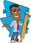 Simple Style Cartoon of an African-American Guy - Shape 6