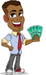 Simple Style Cartoon of an African-American Guy - Holding Money