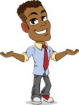 Simple Style Cartoon of an African-American Guy - Presenting with both hands